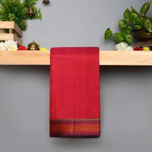 Red Coloured Pure Silk Saree With Contrast Kanchana Arakku Pallu