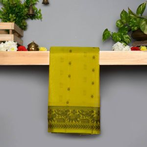 Dark Mustard Green Coloured Pure Silk Saree With Thread Work Pallu