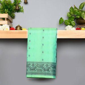 Pastel Green Coloured Pure Silk Saree With Thread Work Pallu