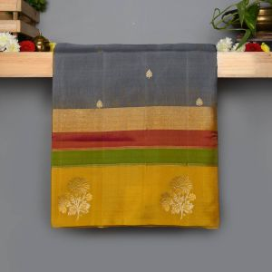 Silver Gray Colour Kanchipuram Soft  Silk  with Contrast Yellow colour Blouse