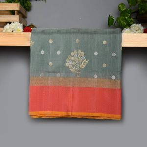 Pastel Green and Gray Colour Kanchipuram Soft Silk with Peach Colour Blouse