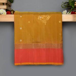 Mustard and Gray Colour Kanchipuram Soft Silk with Peach Colour Blouse