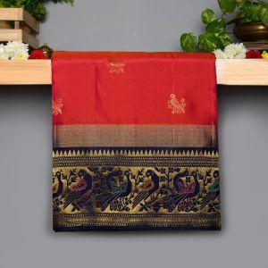 Dark Pink Colour Kanchipuram Soft  Silk  with Contrast Navy Blue colour Blouse
