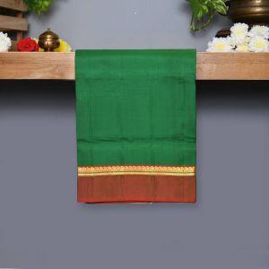 Dark Green Coloured Kanchipuram Silk Saree With Maroon Pallu