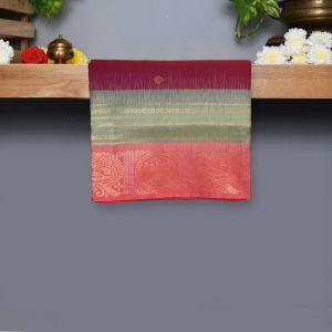 Wine Coloured Kanchipuram Silk Saree With Onion Pink Pallu
