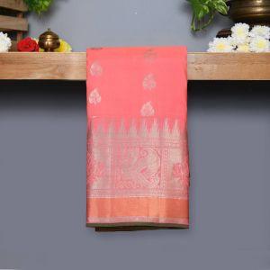 Baby Pink Coloured Kanchipuram Silk Saree With Shaded Green Pallu