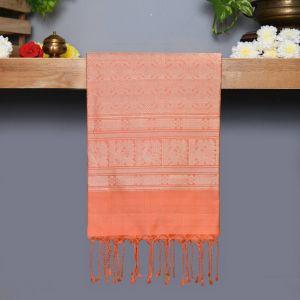 Safer Coloured Kanchipuram Silk Saree Peach pallu