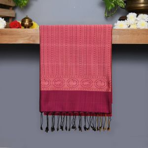 Pink Coloured Kanchipuram Silk Saree With majanta pallu