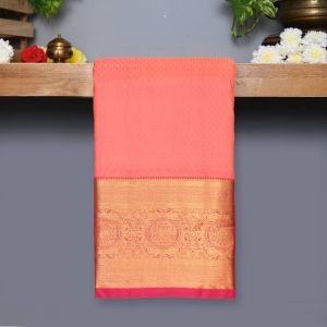 Peach Pink Coloured Kanchipuram Silk Saree With Rani Rose Pallu