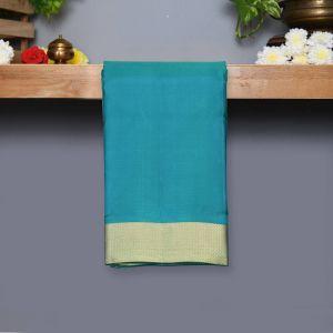 Safer Green Coloured Kanchipuram Silk Saree With Golden Zari Pallu