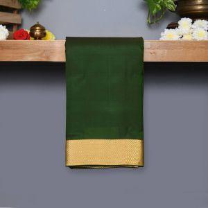Dark Green Coloured Kanchipuram Silk Saree With Golden Zari Pallu