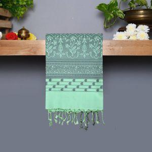 Light Mint Green Coloured Kanchipuram Silk Saree With Thread Pallu