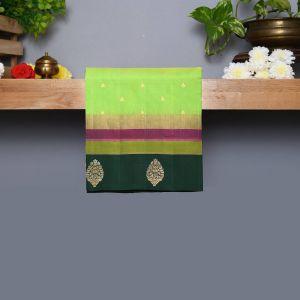 Lawn Green Coloured Kanchipuram Silk Saree With Dark GreenPallu