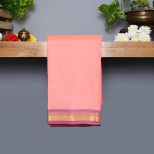 Pastel Peach Coloured Kanchipuram Silk Saree with Light Violet Colour Pallu