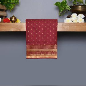 Maroon Coloured Kanchipuram Silk Saree With Golden zari Pallu