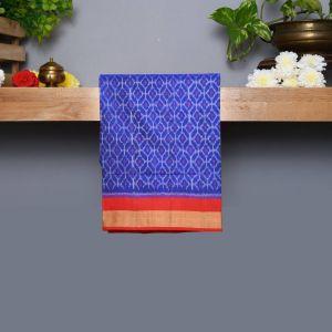 Ink Blue Coloured Kanchipuram Silk Saree With Red Pallu