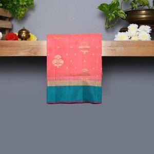 Pastel Pink Coloured Kanchipuram Silk Saree With Sapphire Green Pallu