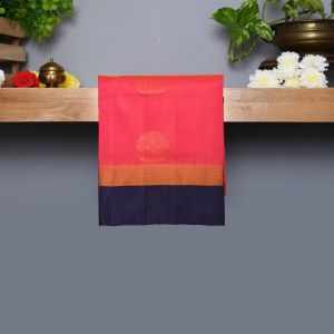 Rani Rose Coloured Kanchipuram Silk Saree With Navy Blue Pallu
