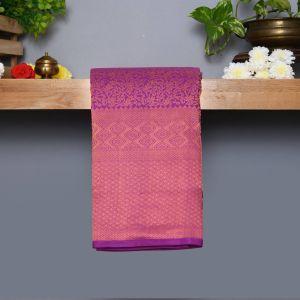 Purple Coloured Kanchipuram Silk Saree With Copper  Zari Pallu