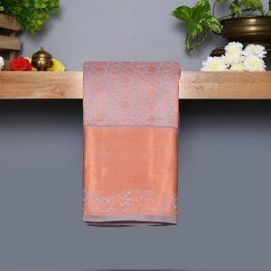 Pastel Gray  Coloured Kanchipuram Silk Saree With Copper  Zari Pallu
