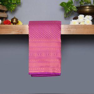 Violet  Coloured Kanchipuram Silk Saree With Copper  Zari Pallu