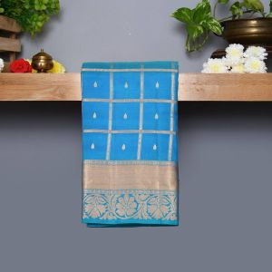 Turquoise Blue Coloured Kanchipuram Silk Saree With Golden Zari Pallu