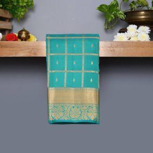 Shamrock Green Coloured Kanchipuram Silk Saree With Golden Zari Pallu