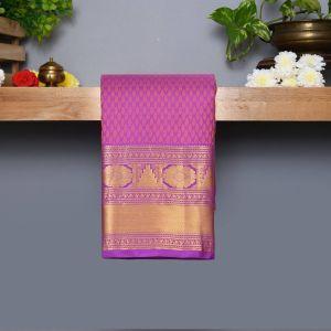 Violet Coloured Kanchipuram Silk Saree With Golden zari Pallu