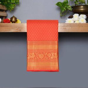 Red Coloured Kanchipuram Silk Saree With Golden zari Pallu