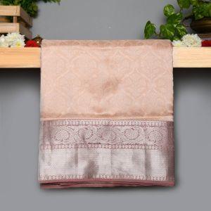 Light Peach Colour Kanchipuram Soft Silk with Zari Brocade Saree