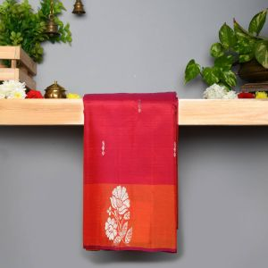 Megenta Red Coloured Pure Silk Saree With Contrast Mustard Pallu