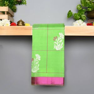 Parrot Green Coloured Pure Silk Saree With Contrast Pink Pallu