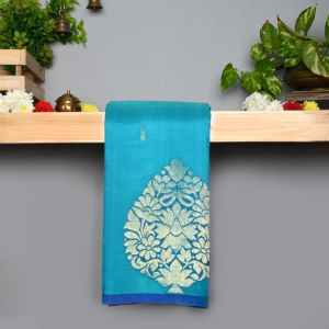 Safar Blue Coloured Pure Silk Saree With Contrast Royal Blue Pallu