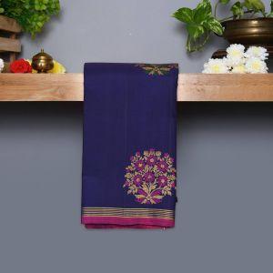 Navy blue Coloured Kanchipuram Silk Saree With Pink Pallu