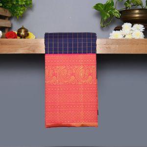 Navy Blue Coloured Kanchipuram Silk Saree With Pink blouse