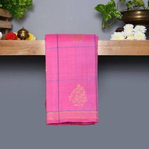 Baby Pink Coloured Kanchipuram Silk Saree with Pastel Gray  Pallu